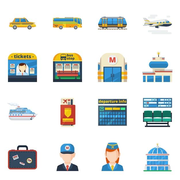 Passagiersvervoer vlakke pictogrammen Gratis Vector