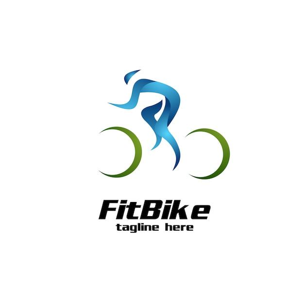 Passend fietslogo Premium Vector
