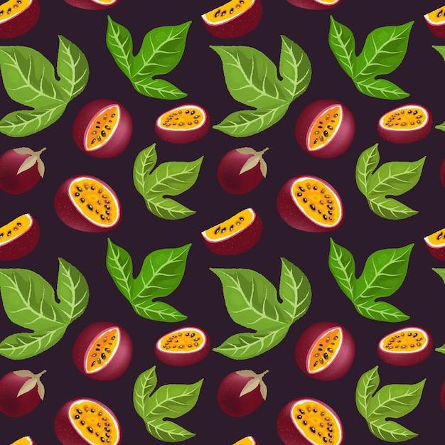 Passievrucht patroon. rijpe tropische vruchten half en plakjes. Premium Vector