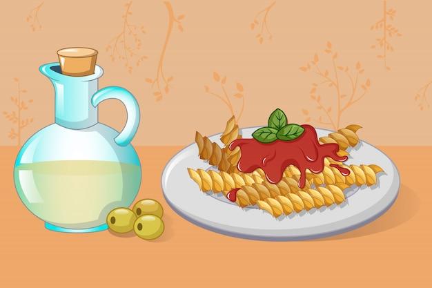 Pasta en olijfolie concept, cartoon stijl Premium Vector