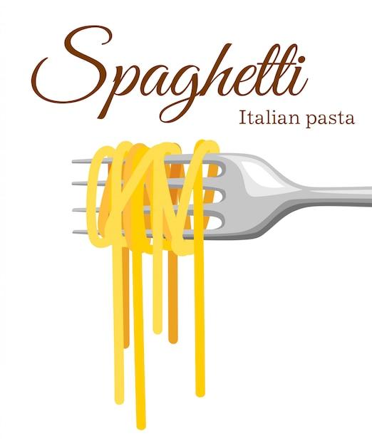 Pasta roll op de vork. italiaanse deegwaren met vorksilhouet. zwarte vork met spaghetti op de gele achtergrond. hand met een vork met spaghetti. Premium Vector