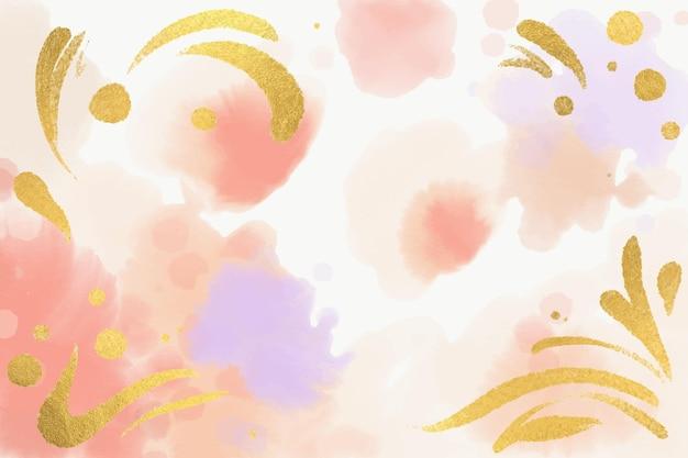 Pastel achtergrond met gouden folie in aquarel Gratis Vector