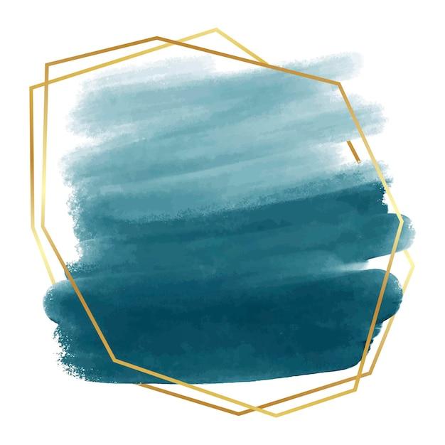 Pastel blauwe aquarel met gouden abstract frame Gratis Vector
