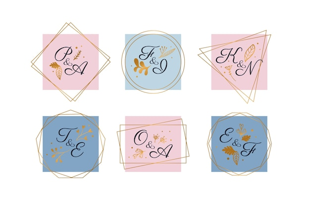 Pastel bruiloft logo pack Gratis Vector