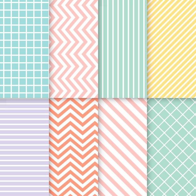 Pastel gemengde naadloze patroon vector set Gratis Vector