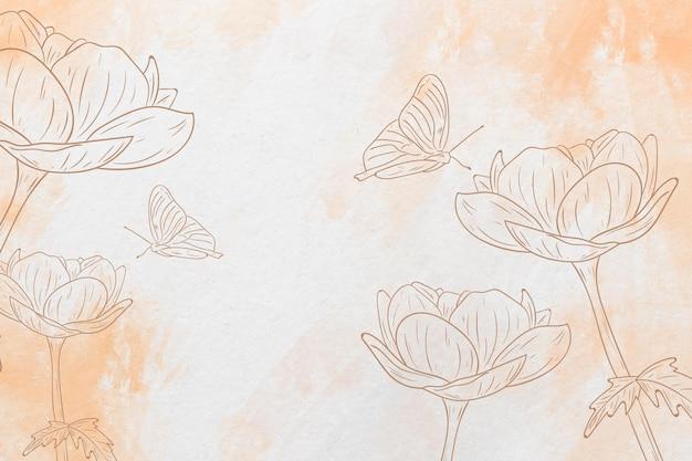 Pastel hand getekende vlinder en bloemen achtergrond Premium Vector