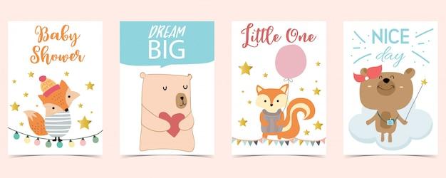 Pastel kaart met beer, vos, ballon Premium Vector