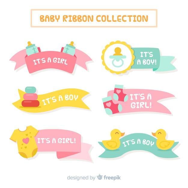 Pastel kleuren baby lint collectie Gratis Vector