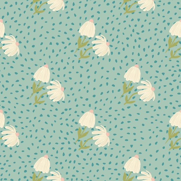 Pastel licht bloemen naadloze botanische patroon. blauwe zachte achtergrond met stippen. gestileerde print. ontworpen voor behang, textiel, inpakpapier, stoffenprint. . Premium Vector
