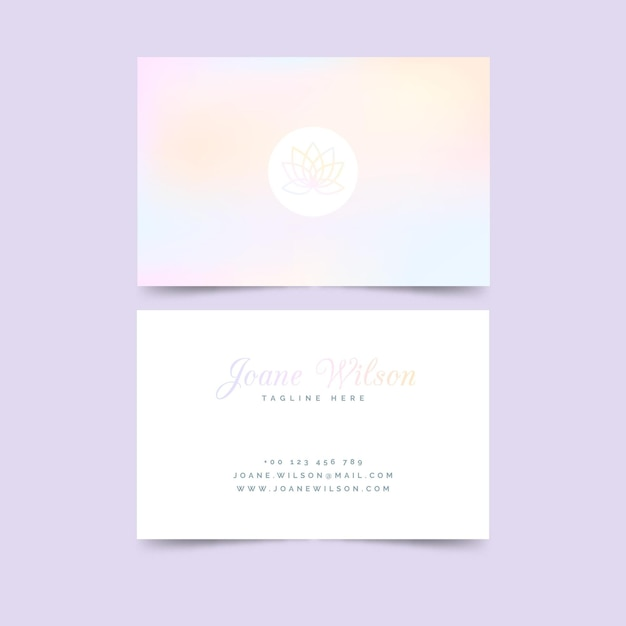 Pastel lotusbloem visitekaartje sjabloon Gratis Vector