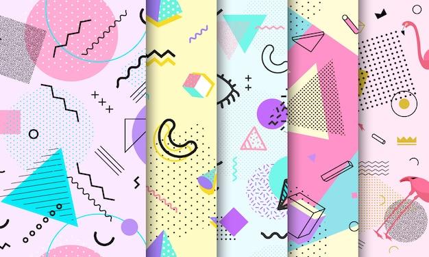Pastel memphis naadloze patroon set Premium Vector