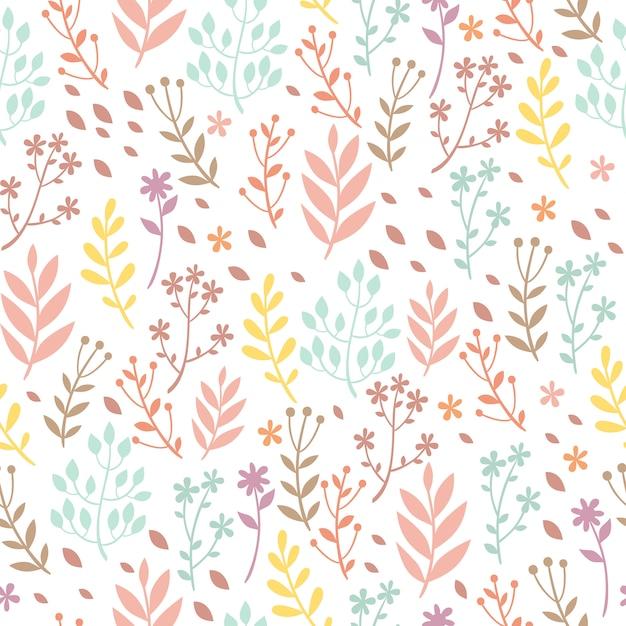 Pastel patroon met planten Gratis Vector