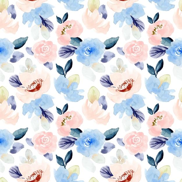 Pastel roze blauw bloemen aquarel naadloze patroon Premium Vector