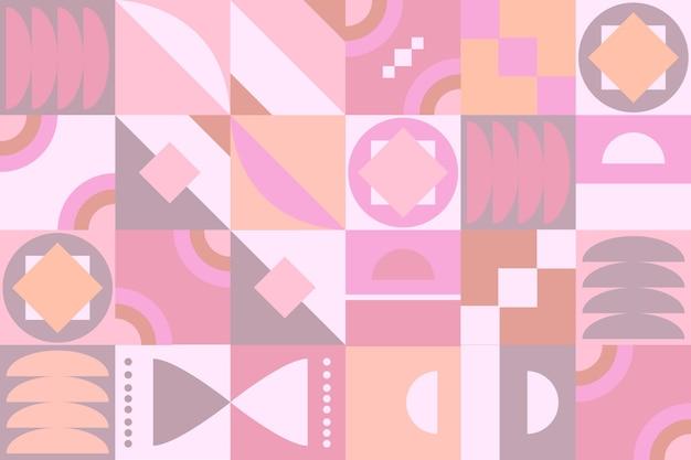 Pastel roze gekleurd geometrisch muurschildering behang Gratis Vector