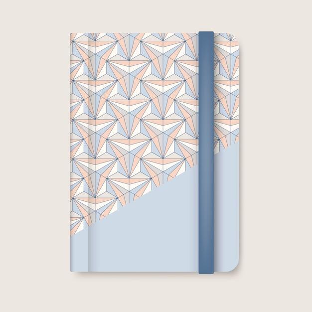 Pastelkleur geometrische patroon dekking van een blauwe dagboek vector Gratis Vector