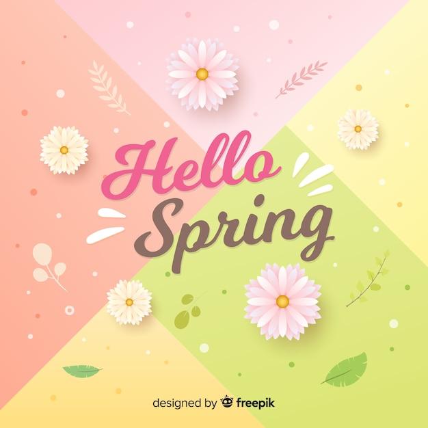 Pastelkleur hello de lenteachtergrond Gratis Vector