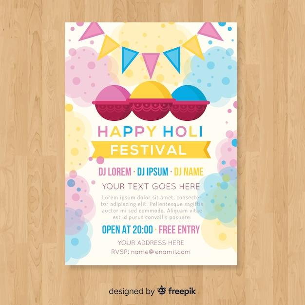 Pastelkleur holi festival partij poster Gratis Vector
