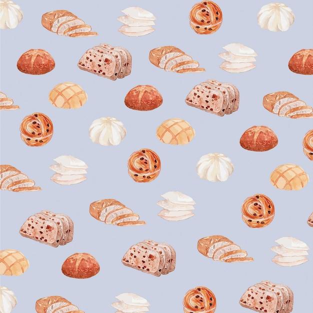 Pastelkleur waterverf brood naadloos patroon Premium Vector