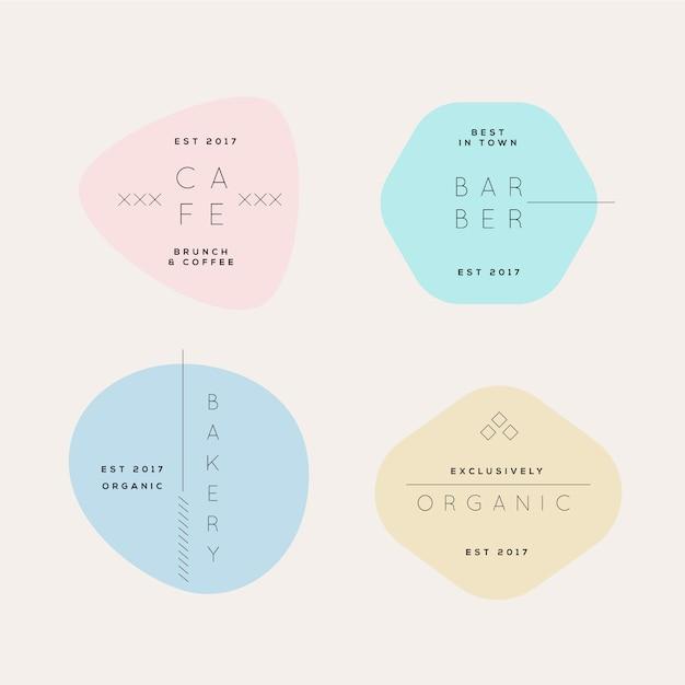 Pastelkleuren minimale logo-collectie Gratis Vector
