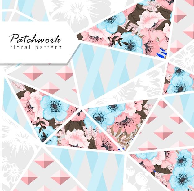 Patchwork bloemenachtergrond Gratis Vector