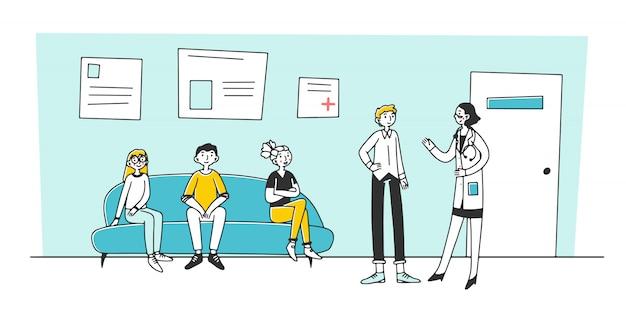 Patiënt bezoeken arts kantoor in het ziekenhuis Premium Vector
