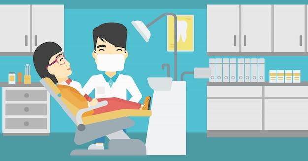 Patiënt en arts op het kantoor van de tandarts. Premium Vector