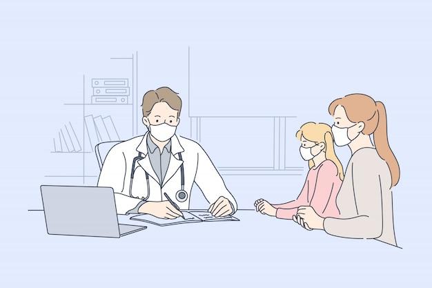 Patiënt, onderzoek, geneeskunde, coronavirus, gezondheidszorg concept. Premium Vector