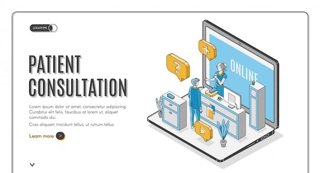 Patiënt online consultatie service website banner Gratis Vector