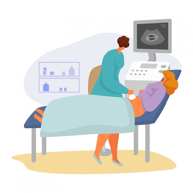Patiënt op arts afspraak illustratie, cartoon vrouw specialist karakter scannen zwanger op wit Premium Vector