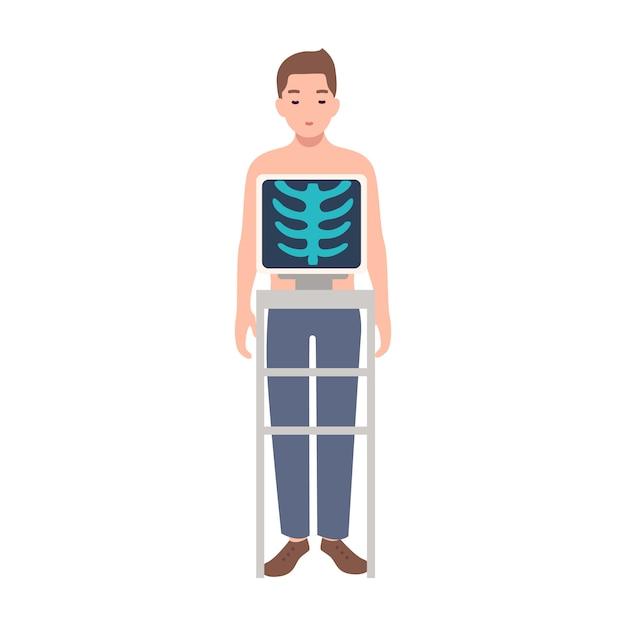 Patiënt tijdens medische procedure om borstradiografie te nemen die op witte achtergrond wordt geïsoleerd. jonge man permanent binnen x-ray machine en foto van zijn ribbenkast op monitor. cartoon afbeelding Premium Vector