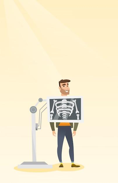 Patiënt tijdens röntgenstraalprocedure vectorillustratie Premium Vector