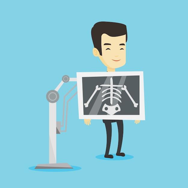 Patiënt tijdens x ray procedure illustratie Premium Vector