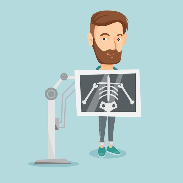 Patiënt tijdens x ray procedure vectorillustratie Premium Vector