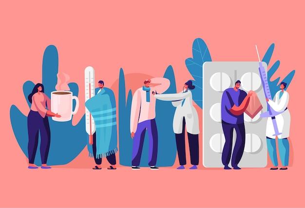 Patiënten mannen en vrouwen die een kliniek of ziekenhuis bezoeken voor doktersbenoeming. cartoon vlakke afbeelding Premium Vector