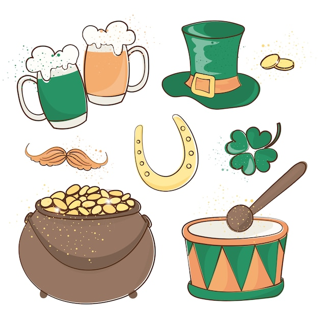 Patrick's bier saint patrick's day vector illustratie set Premium Vector