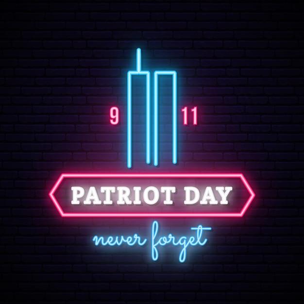 Patriot day neon banner met twin towers. Premium Vector