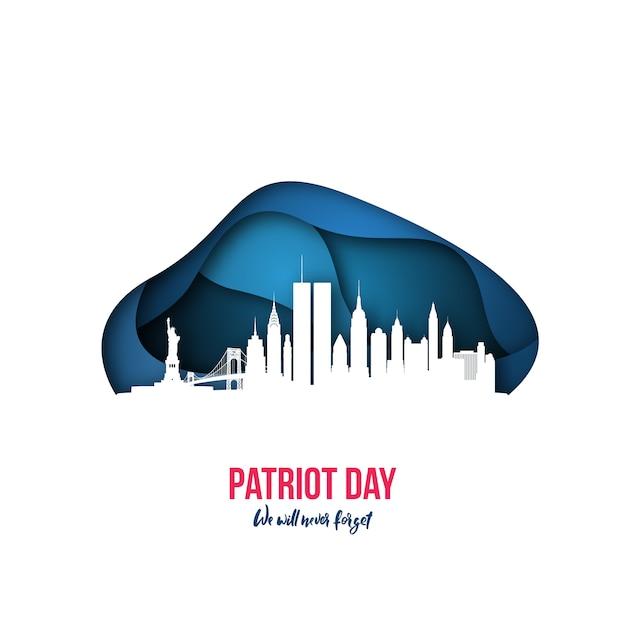 Patriot day new york skyline 11 september 2001. Premium Vector