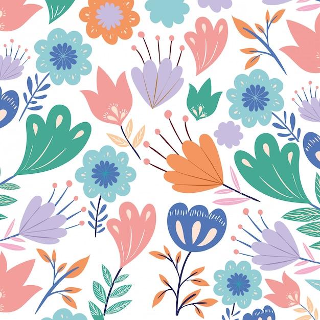 Patroon bloemen met bladeren geïsoleerde pictogram Premium Vector