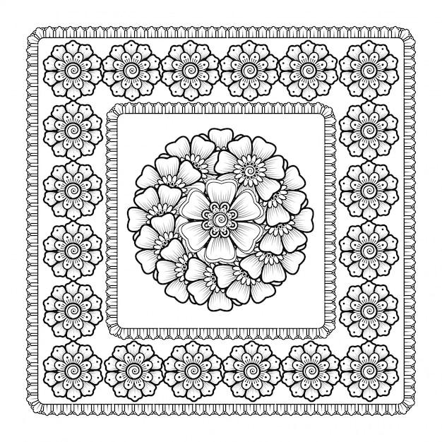 Patroon in de vorm van mandala met bloem Premium Vector