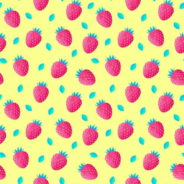 Patroon met aardbeien en bladeren Premium Vector