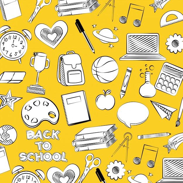 Patroon met basketbal, appel, verf terug naar schoolillustratie Gratis Vector