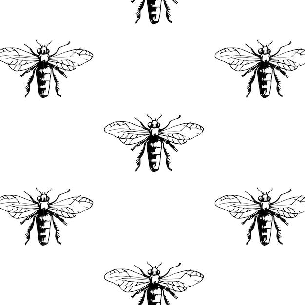 Patroon met bijen verplaatst. Gratis Vector