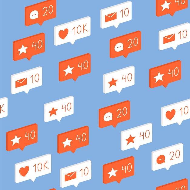 Patroon met elementen van sociale netwerken, pictogrammen, vind-ik-leuks, opmerkingen, berichten zonder naden. Premium Vector
