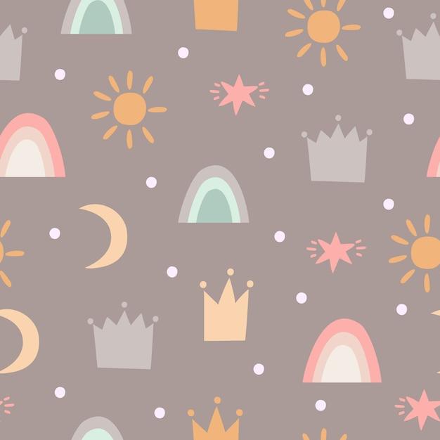Patroon met kronen, sterren en regenbogen Gratis Vector