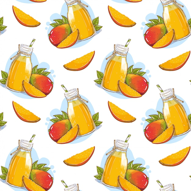 Patroon met mangosap in een glazen fles met een rietje en mangovruchten Premium Vector