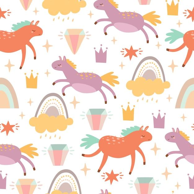 Patroon met paarden en regenbogen Gratis Vector