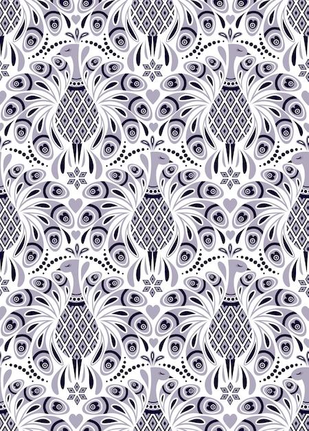Patroon met pauw en abstracte bloemen Premium Vector