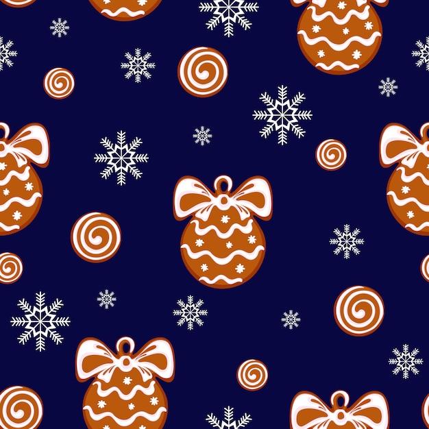 Patroon met peperkoekkoekjes in de vorm van een kerstbal Premium Vector