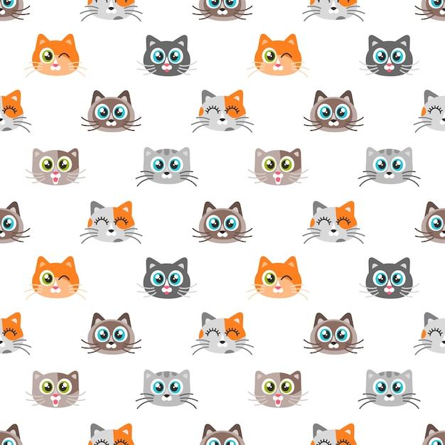 Patroon met schattige katten Premium Vector