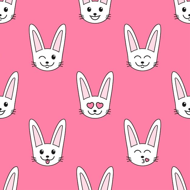 Patroon met witte konijnen met verschillende emoties Premium Vector